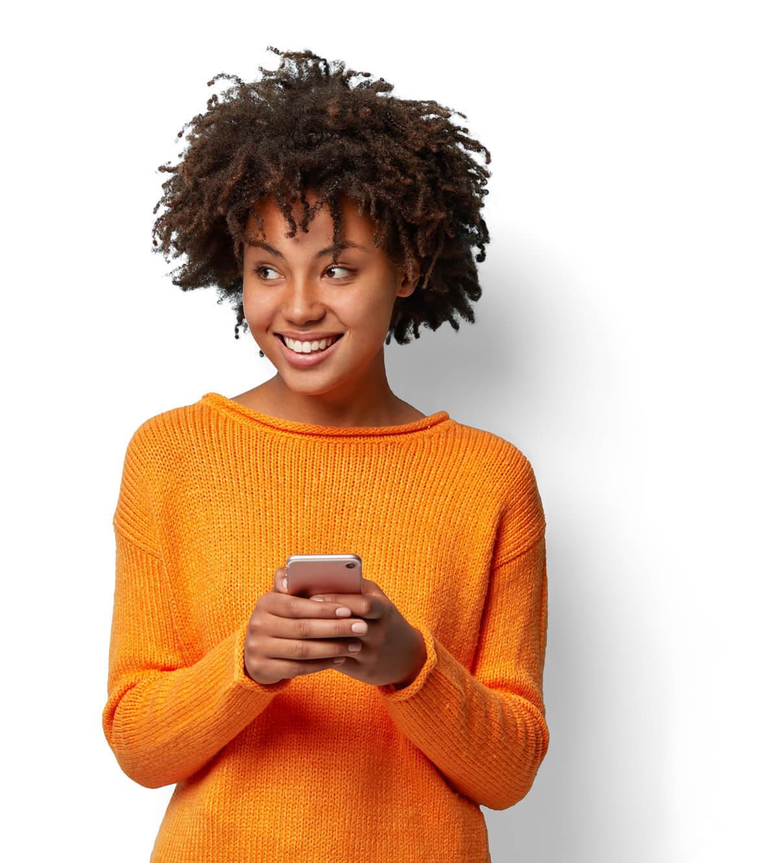 Image of Girl in orange sweater cutout white bg