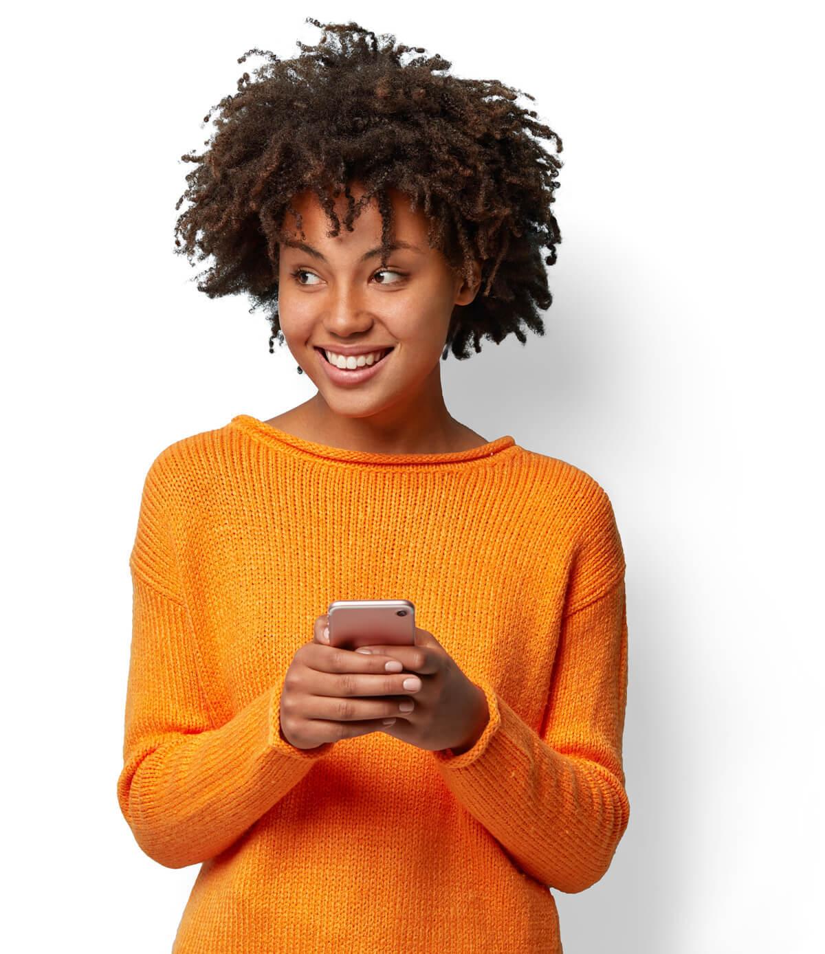 Image of Girl in orange sweater cutout