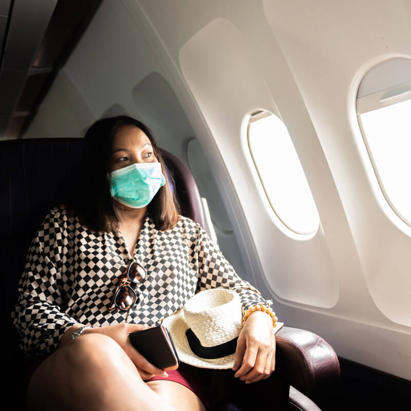 Image of Woman safe travels on airplane